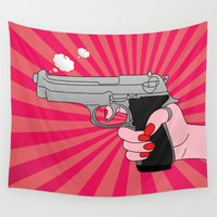 comics Wall Tapestries featuring comics gun  by mark ashkenazi