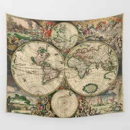 Vintage World Map print from 1689 Wall Tapestry