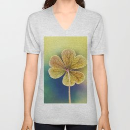 Heart-shaped Clover like Oxalis Macro. St Patrick's Day Unisex V-Neck