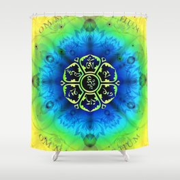 """Om Mani Padme Hum"" - Embodiment of Compassion Shower Curtain"