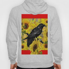 RAVEN & SUNFLOWERS FIELDS  RED ART Hoody