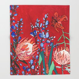 Red and Blue Floral with Peach Proteas Throw Blanket