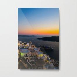 Fira Sunset i Santorini Metal Print