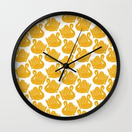 Gold Crown Lynn Swans Wall Clock