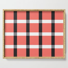 Pretty in Plaid Gingham Living Coral Color of 2019 Serving Tray
