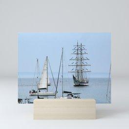 Ship Sailboats Sails Harbor Seascape Mini Art Print