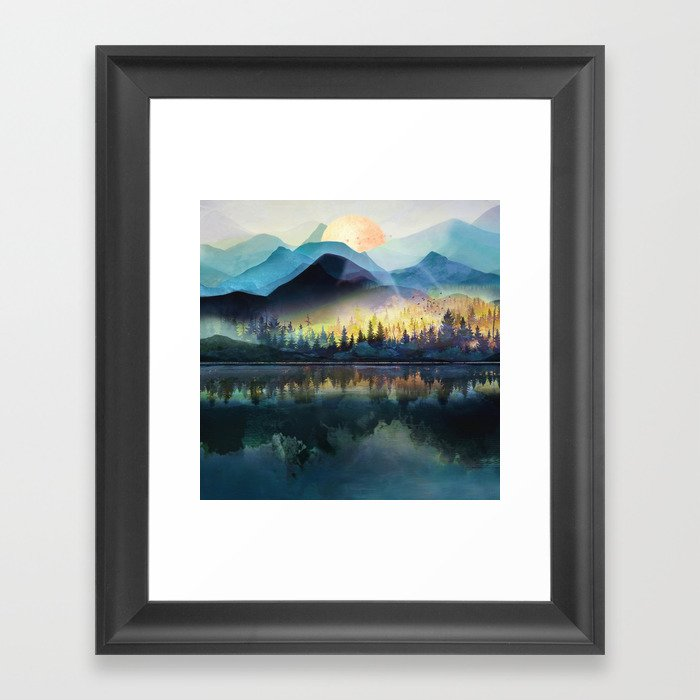 Mountain Lake Under Sunrise Gerahmter Kunstdruck