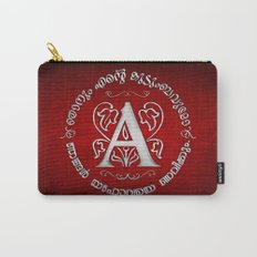 Joshua 24:15 - (Silver on Red) Monogram A Carry-All Pouch