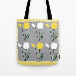 Tulips Pattern in Yellow, White, and Grey Tote Bag