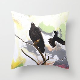 Eagle and Crow Throw Pillow