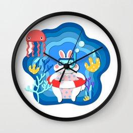 White rabbit_UnderwaterWorld Wall Clock