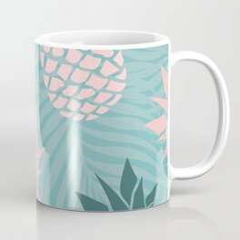 Tropical Pineapple and Palm Leaf Pattern, Teal and Pink Coffee Mug