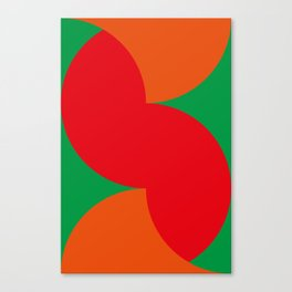 Cute little orange and red worm eating some vegetables. Canvas Print