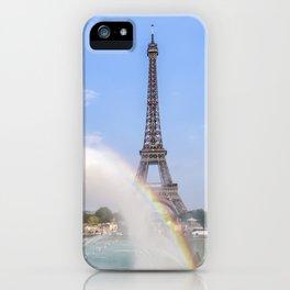 PARIS Eiffel Tower with rainbow iPhone Case