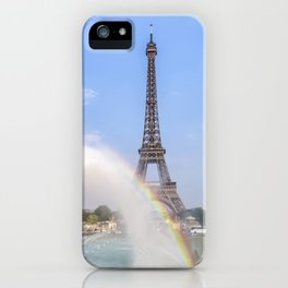 PARIS Eiffel Tower with rainbow iPhone Case