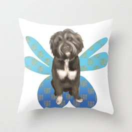 A Fluffy Pooch with Dainty Fairy Wings Throw Pillow