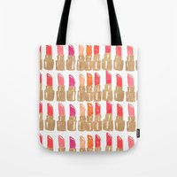 lipstick Tote Bags featuring Lipstick! by Bouffants and Broken Hearts