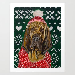 Bloodhound in a Hat and Scarf Art Print