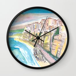 Astonishing Tropea Cliffs with Rock Houses In Italy Wall Clock