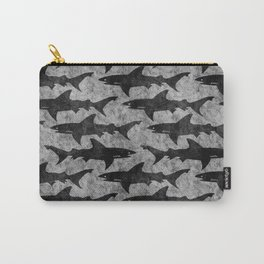 Gray and Black Shark Pattern Carry-All Pouch