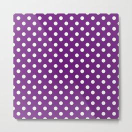 Polka Dot White On Purple Metal Print