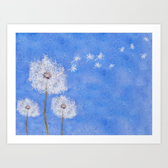 flying dandelion watercolor painting Art Print
