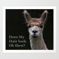 Funny hairstyle alpaca Art Print