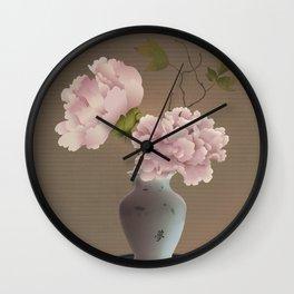 Chinese Pink Peonies in Vase Wall Clock