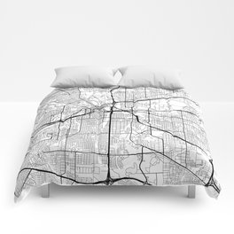 Fort Worth Map White Comforters