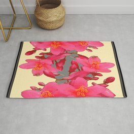 BLACK-PINK FLOWER BLOSSOMS YELLOW SPRING ART Rug