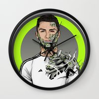 real madrid Wall Clocks featuring Football Legends Cristiano Ronaldo Real Madrid Robot by Akyanyme