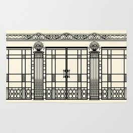 ART DECO, ART NOUVEAU IRONWORK: Black and Cream Rug