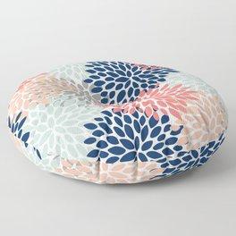 Floral Bloom Print, Coral, Pink, Pale, Aqua, Blue, Gray, Navy Floor Pillow
