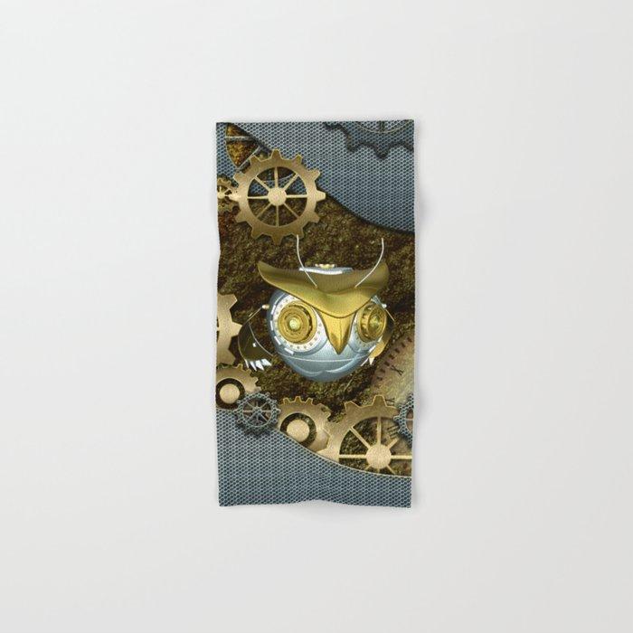 Steampunk, awesome owl Hand & Bath Towel