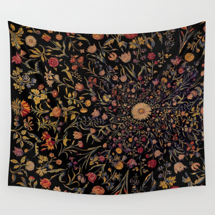 Medieval Flowers on Black Wall Tapestry