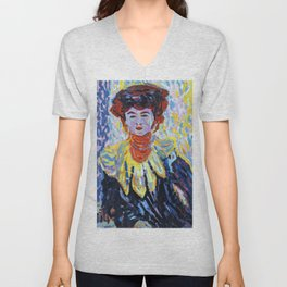 Doris with Ruff Collar - Ernst Ludwig Kirchner Unisex V-Neck