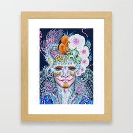 Sugar Skull Day of the Dead Floral Portrait with fantasy seahorse and lace Framed Art Print