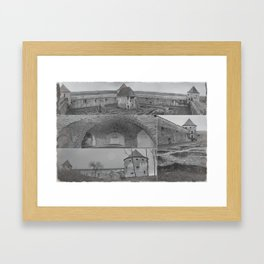 Fortress monastery collage Framed Art Print