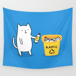 Cat recycles plastic Wall Tapestry