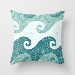Sea waves of blue, green and azure water Throw Pillow