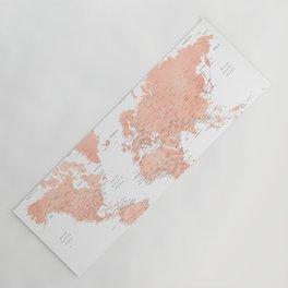 "Rose gold world map with cities, ""Hadi"" Yoga Mat"