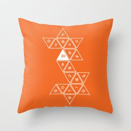 Orange Unrolled D20 Throw Pillow