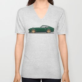 Legendary Classic Green 240z Fairlady Vintage Retro Cool German Car Wall Art and T-Shirts Unisex V-Neck