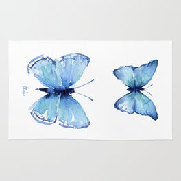 Two Blue Butterflies Watercolor Animals Insects Rug