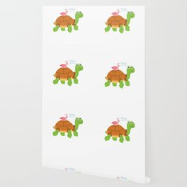 Cute Snail Riding Turtle Animal Friends Wallpaper