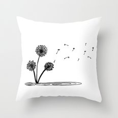 Dandilion wind Throw Pillow