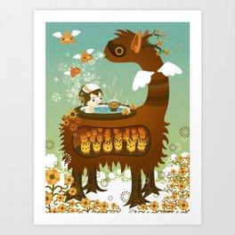 Llama Bath Art Print