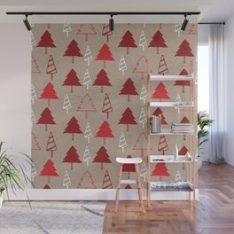 Christmas Tree Red and Brown Wall Mural