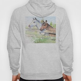 Horses Watercolor Sketch Barn Animals Horse Hoody
