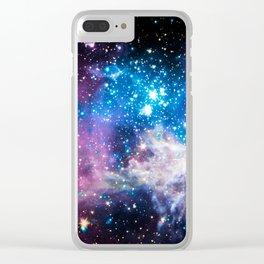 Tarantula Nebula Purple Vibrant blue Clear iPhone Case